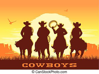 Cowboys silhouette riding horses at sunset landscape. Vector prairie desert with sun and canyon
