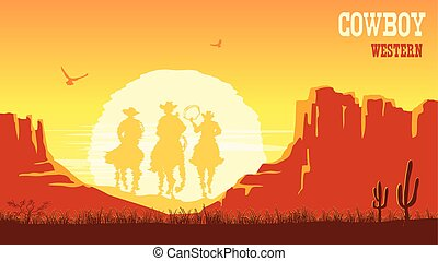 Cowboys silhouette riding horses at sunset. Vector prairie landscape with sun and canyon