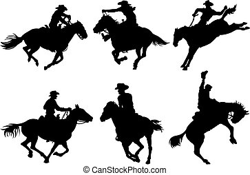 Cowboys silhouettes - Cowboys on horses silhouettes on a...