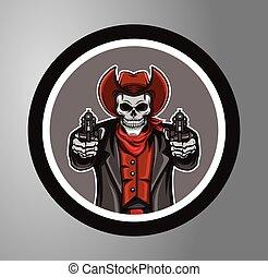 Cowboys skull Circle sticker