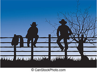 Cowboys - Two cowboys sitting on fence - computer generated...