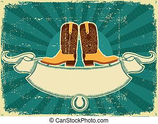 cowboystiefel, karte, auf, altes , papier, .vintage, hintergrund