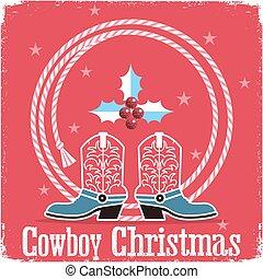 cowboystiefel, roter hintergrund, westlich, weihnachtskarte, lasso