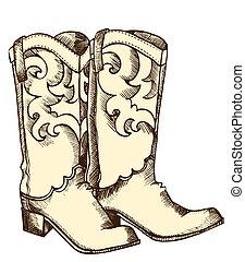 cowboystiefel, .vector, grafik, bild