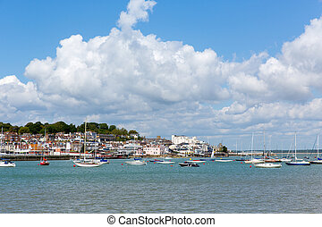 Cowes harbour Isle of Wight blue