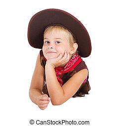cowgirl, šikovný, maličký