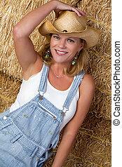 cowgirl, 在, 干草