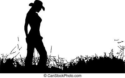 Cowgirl, alone