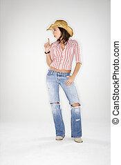 Cowgirl blowing imaginary gun.