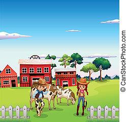 cowgirl, boerderij, cowboy