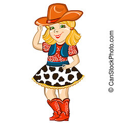 Cowgirl child with western hat and boots. Vector happy kid illustration for party birthday