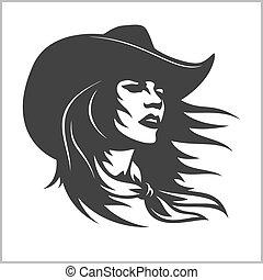 cowgirl, -, clip, carino, 2, retro, arte