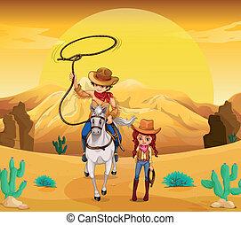 cowgirl, deserto, cowboy
