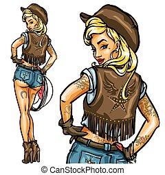 cowgirl, do góry, szpilka, odizolowany