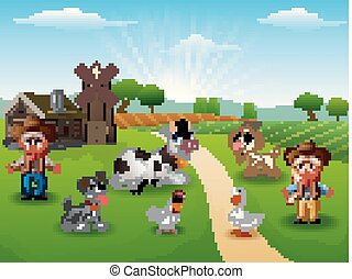 cowgirl, ferme, matin, animaux, cow-boy