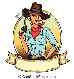 cowgirl, fumo, carino, presa a terra, fucile