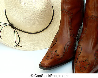 cowgirl gear - straw cowboy hat and boots