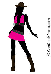 Cowgirl Illustration Silhouette - Cowgirl with dressed in...
