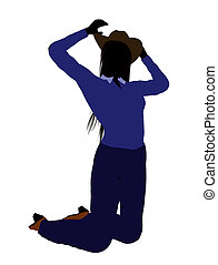 Cowgirl Illustration Silhouette2 - Cowgirl dressed in blue...