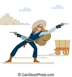 Cowgirl in a robbery with two revolvers. wild West. Cartoon vector illustration. Flat style. Isolated on white background