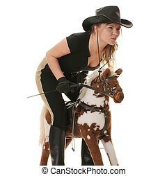 Cowgirl (jockey) race on hobbyhorse