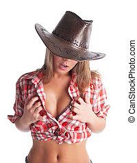 cowgirl, jovem, peito, mãos, ponha, excitado