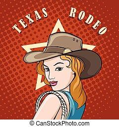 cowgirl, laccio rodeo
