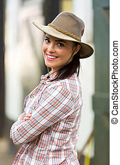 cowgirl looking back - attractive cowgirl looking back...