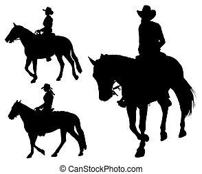 cowgirl, montando, cavalo, silhuetas
