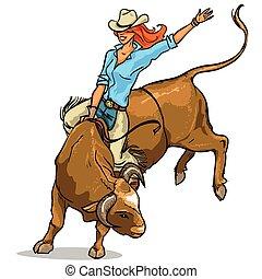 cowgirl, montando, touro, isolado