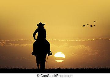cowgirl, ondergaande zon