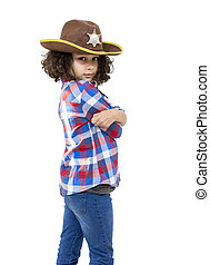 Cowgirl - Portrait of a little girl with a sheriff hat...