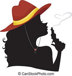 cowgirl, punta, soffiando, silhouette, pistola