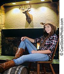 cowgirl, relaxado