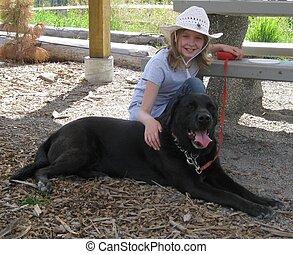 cowgirl, retrato, cão
