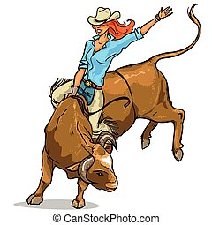 cowgirl, ridande, a, tjur, isolerat