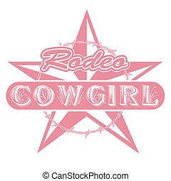 cowgirl, rodeó, művészet, csíptet