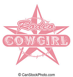 cowgirl, rodeo, arte, clip