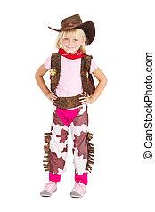 cowgirl, schattig, weinig; niet zo(veel), studioportret