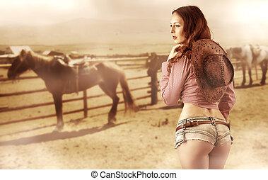 cowgirl, sexy, il portare, jeans, calzoncini