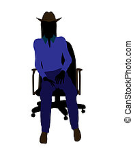 Cowgirl Sitting In A Chair Illustration Silhouette - Cowgirl...