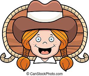 A cartoon cowgirl smiling.