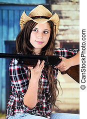 Cowgirl Taking Aim