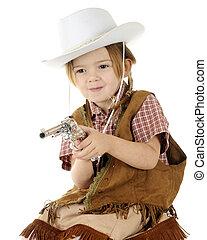 cowgirl, weinig; niet zo(veel), schietende