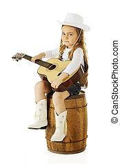 cowgirl, weinig; niet zo(veel), strumming
