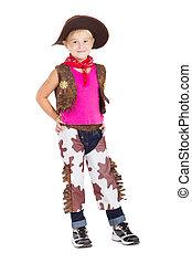 cowgirl, weinig; niet zo(veel), witte , vrijstaand