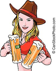 Pretty cowgirl with beer mugs, label isolated on white