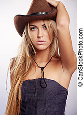 Cowgirl - Young lady in a cowboy hat