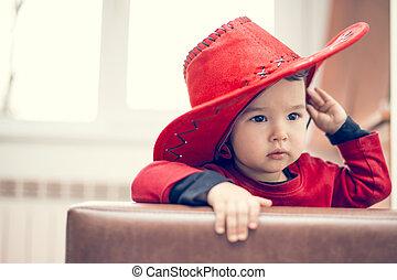 cowgirl, zoet, weinig; niet zo(veel), hoedje, rood