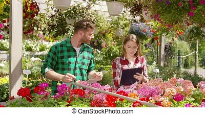Coworkers accounting flowers for sale - Young man and woman...